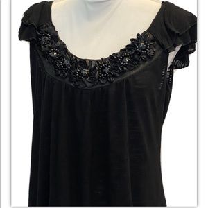 Bobeau, Short Sleeve, Floral and Bead Detail, Top